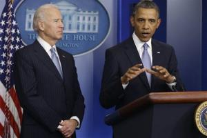 President Obama and Vice President Joe Biden make a statement regarding the passage of the fiscal cliff bill.