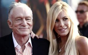 In this April 26, 2010 file photo, Hugh Hefner, left, and Crystal Harris arrives at the premiere of Iron Man 2 at the El Capitan Theatre in Los Angeles.