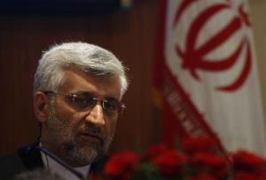 Iran's Supreme National Security Council Secretary and chief Nuclear negotiator Saeed Jalili speaks during a press conference in New Delhi, India, today.