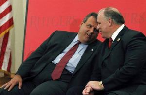 New Jersey Gov. Chris Christie, left, talks with Senate President Stephen M. Sweeney at a gathering in Camden, NJ, Aug. 22, 2012.