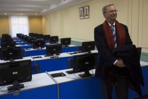 Executive Chairman of Google, Eric Schmidt tours a computer lab at Kim Il Sung University in Pyongyang, North Korea on Tuesday, Jan. 8, 2013.