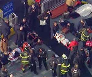 This aerial photo provided by WABC News Channel 7 shows emergency personnel at the scene of a ferry crash in Lower Manhattan, Jan. 9, 2013, in New York.