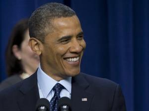 President Barack Obama smiles as he speaks about the fiscal cliff, Monday, Dec. 31, 2012.