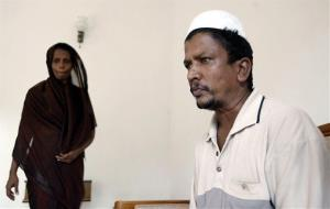 Mohammad Razeena, left, and Mohammad Sultan Nafeek, parents of Rizana Nafeek, a Sri Lankan housemaid sentenced to be beheaded in Saudi Arabia, look on in Colombo, Sri Lanka, Monday, July 16, 2007.
