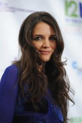 Actress Katie Holmes appears backstage at 12-12-12 The Concert for Sandy Relief, on Wednesday, Dec. 12, 2012 in New York.