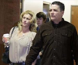 Steve Hernandez, father of Aurora victim Rebecca Wingos, arrives for a court proceeding for James Holmes at the courthouse in Centennial, Colo., Jan. 11,  2013.