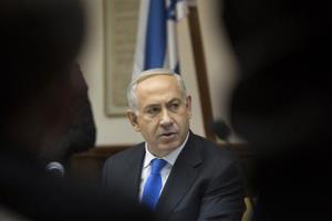 Israel's Prime Minister Benjamin Netanyahu attends the weekly cabinet meeting in Jerusalem, Sunday, Jan. 13, 2013.