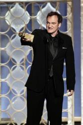 This image from NBC shows Quentin Tarantino with his award for best screenplay for his film, Django Unchained, during the 70th Annual Golden Globe Awards at the Beverly Hilton Hotel on Jan. 13, 2013.
