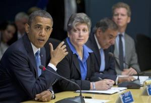 In this Oct. 31, 2012 file photo, President Obama, accompanied by members of his Cabinet, speaks at the Federal Emergency Management Agency Headquarters in Washington to discuss Superstorm Sandy.