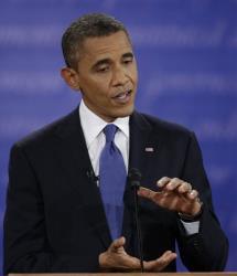 President Barack Obama speaks during the first presidential debate with Mitt Romney at the University of Denver, Wednesday, Oct. 3, 2012, in Denver.
