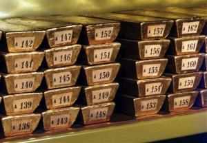Gold ingots are stored at their headquarters in Frankfurt, Germany.