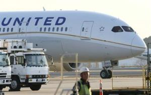 A United Airlines Boeing 787 is parked at Narita Airport in Narita, east of Tokyo, Thursday, Jan. 17, 2013.
