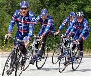 Lance and the rest of the team sport their USPS outfits during a training session in this file photo.