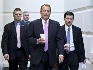 In this Jan. 4, 2013, photo, House Speaker John Boehner of Ohio walks to a strategy session with GOP members, on Capitol Hill.