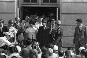 In this June 11, 1963, file photo, Vivian Malone and James Hood stand in the doorway of Foster Auditoriumistered at the University of Alabama.