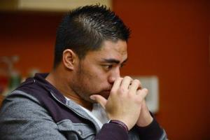 In a photo provided by ESPN, Notre Dame linebacker Manti Te'o pauses during an interview on Friday.