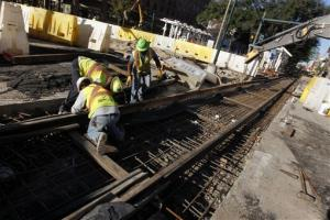 In this Nov. 8 photo, construction continues on tracks on Loyola Avenue in New Orleans.