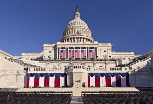 The West Front of the US Capitol is dressed in red, white and blue for  President Obama's public inauguration ceremony.