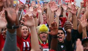 Falcons fans outside the Georgia Dome.