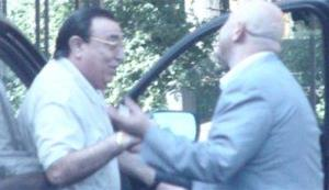 This undated video grab provided by Russian state television shows Russian mobster Aslan Usoyan, left, one of Russia's top crime lords who was gunned down Wednesday, Jan. 16, 2013.