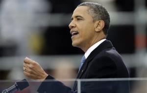 President Barack Obama delivers his Inaugural address.