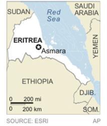 Map locates Eritrea.
