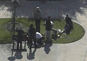 This frame grab provided by KPRC Houston shows the scene at Lone Star College Tuesday.