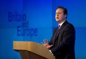 Britain's Prime Minister David Cameron makes a speech on having a referendum on staying in the European Union in London, Wednesday, Jan. 23, 2013.