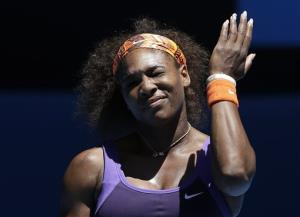 Serena Williams of the US reacts during her quarterfinal match against compatriot Sloane Stephens at the Australian Open tennis championship in Melbourne, Australia, Wednesday, Jan. 23, 2013.