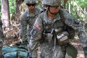 In a May 9, 2012 photo, Capt. Sara Rodriguez, 26, of the 101st Airborne Division trains at Fort Campbell, Ky.