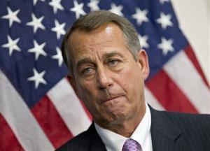 Speaker of the House John Boehner talks to reporters on Tuesday.