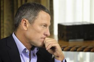 Lance Armstrong listens as he is interviewed by Oprah Winfrey in Austin, Texas.