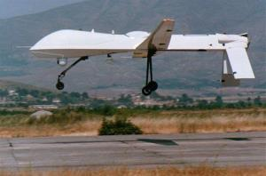 In this photo taken on July 21, 1995, an unmanned US Predator drone makes a landing after completing a flight over former Yugoslavia at the remote air base of Gjader in north central Albania.