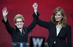 Kathleen Wynne and Sandra Pupatello at the LIberal leadership convention yesterday.
