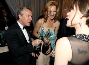 Tate Donovan, left, Kerry Bishe, center, and Clea DuVall are seen backstage with the award for outstanding cast in a motion picture for Argo  at the 19th Annual Screen Actors Guild Awards.