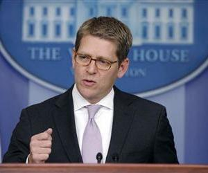 Press Secretary Jay Carney briefs reporters at the White House in Washington, Monday, Jan. 28, 2013.