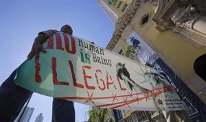 Immigration reform activists hold a sign in front of Freedom Tower in downtown Miami yesterday.