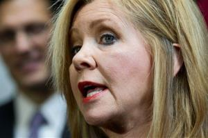 Rep. Marsha Blackburn, R-Tenn., joins GOP House leaders during a news conference on Capitol Hill in Washington, Wednesday, Feb. 1, 2012.