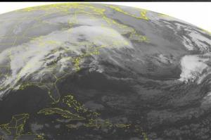 This NOAA satellite image taken early this morning shows a massive area of clouds across the Eastern US associated with a complex storm system in the Mississippi Valley.