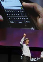 Thorsten Heins, President and CEO of Research in Motion, gestures during a demonstration of the new BlackBerry 10.