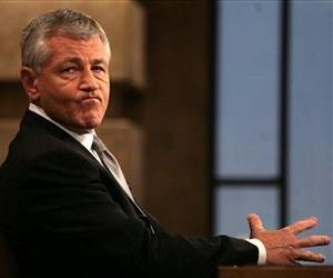 In this photo provided by CBS, Sen. Chuck Hagel. R-Neb., appears on CBS's Face the Nation in Washington, Sunday, May 13, 2007.