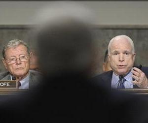 John McCain asks Chuck Hagel a question during the Senate Armed Services Committee hearing on his nomination, Jan. 31, 2013.