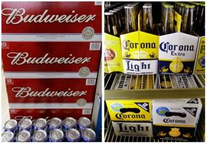 This combination of file photos show Bud and Corona for sale. The US is trying to keep them separate companies.