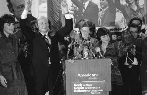 In this Nov. 8, 1977, file photo, Rep. Ed Koch, second from left, celebrates in New York after being elected as New York's mayor.