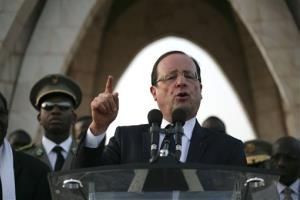 French President Francois Hollande speaks at Independence Place in central Bamako, Mali, Saturday, Feb. 2, 2013.