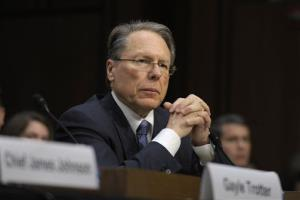 NRA CEO Wayne LaPierre listens on Capitol Hill, Wednesday, Jan. 30, 2013, as he testified before the Senate Judiciary Committee hearing on gun violence.