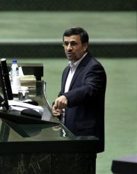 Iranian President Mahmoud Ahmadinejad speeches at the parliament in Tehran, Iran, Wednesday, Jan. 16, 2013.