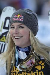 Lindsey Vonn, of the United States, celebrates at finish line after winning an alpine ski, women's World Cup giant slalom, in Maribor, Slovenia, Saturday, Jan. 26, 2013.