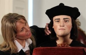 Philippa Langley, originator of the 'Looking for Richard III' project, looks at the facial reconstruction of Richard III, unveiled to the media at the Society of Antiquaries, London Feb. 5, 2013.
