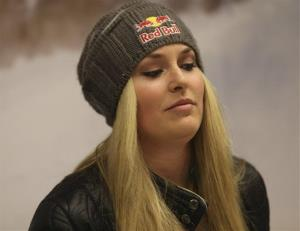 In this photo taken Sunday, Feb. 3, 2013, US ski racer Lindsey Vonn attends a press conference in Schladming, Austria.